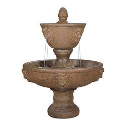 Large Two Tier Leonesco Fountain, Sun Terra - *Please Note: Our color chart is for example purposes only.  Monitor settings and how the finish is applied to these outdoor water fountains can vary to what is shown in the color chart.  Actual stone samples of each finish can be purchased to help you make your finish choice.