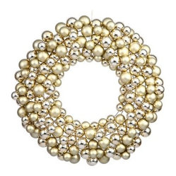 Vickerman 24 in. Gold Colored Ball Wreath