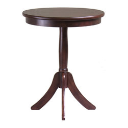"""Winsome Wood - Winsome Wood Belmont End Table w/ Pedestal Leg in Cappuccino - End Table w/ Pedestal Leg in Cappuccino belongs to Belmont Collection by Winsome Wood Belmont wooden accent/end table is a classical style pedestal base round table. The 20"""" diameter is a size to hold a lamp, floral arrangement, photos, etc. The 25"""" height is great as an end table. The solid wood table is sturdy and easily assembled. Please feel free to contact Winsome by phone or online with any questions  End Table (1)"""