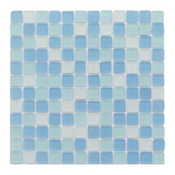 "GlassTileStore - Coastal Seaside Squares Beached Frosted Glass Tiles - Coastal Seaside Squares Beached Frosted Glass Tiles             Add a bursts of color to any room with this beautiful tumbled edge glass tile. This design will give your kitchen, bathroom or any decorated room a bright, and fresh look.         Chip Size: 1"" x 1""   Color: Blue, Green and White   Material: Tumbled Edge Glass   Finish: Frosted    Sold by the Sheet - each sheet measures 12"" x 12"" (1sq. ft.)   Thickness: 8 mm   Please note each lot will vary from the next."