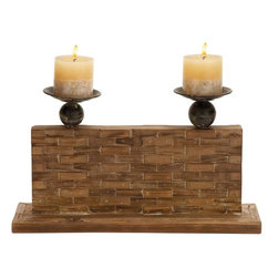 Benzara - Candle Holder with Vertical Rectangular Stand - Opulent and elegant, this 10 in. H Wood Candle Holder with Vertical Rectangular Stand will augment the decor aesthetics of your home. You can place it anywhere in the room but this candle stand is apt for your corner stand and dining table. This wooden candle holder is your pick for excellent looks and durability. Extremely sturdy due to its construction with high quality wood, it also offers appearance retention with a long life. Resting on a flat wooden base, this vertical rectangular stand has 2 delicate and beautiful candle holders attached to it. Place it on your dining table for a special candle light dinner with your partner and see how magically it illuminates the ambience. It adds a class to your home decor with this candle stand. Bring home a wooden candle stand that is not only ornamental but also extremely functional.