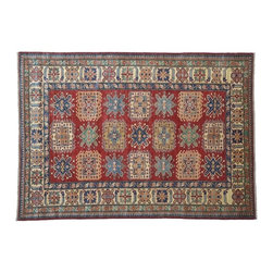 1800-Get-A-Rug - Red Oriental Rug Hand Knotted Rug Kazak Sh7906 - About Tribal & Geometric
