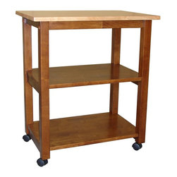 International Concepts - Solid Wood Microwave Cart w Casters - Butcher block top. 4 Casters. 2 Fixed shelves. Made of solid wood. Assembly required. 26 in. L x 17 in. W x 30 in. H (38 lbs.)