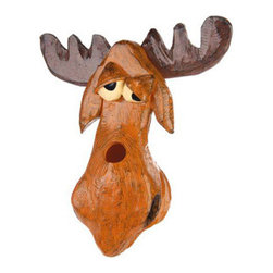 Outside Inside - Muddled Moose Birdhouse - This confused looking muddled moose birdhouse includes ventilation and drainage holes, deep nesting chambers, clean-out doors and do not include predator perches. Made of hand painted resin, it can either be hung or wall mounted.