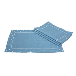 Xia Home Fashions - Polka Dot Embroidered Easy-Care Placemats, Set of 4, Chambray - With embroidered polka dots along the border and available in fun colors, these linens add an cute and whimsical element to any setting. Great to mix and match or for special holiday events!