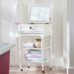 Chelsea Beauty Cart - This chic storage piece keeps jewelry and accessories right where you need them – close by. The top opens to spacious compartments and a beveled mirror, and open shelves below add extra space for towels or beauty essentials.