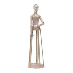 """Go Home Ltd - Blanco Madame by Go Home - This artsy figurine is reminiscent of a doll dress form from ages ago. The Bianco Madame is made of hand painted wood with a simple pensive expression that reads pleasant contentment. Basic design structure in a large two and a half foot frame. (GH) 31"""" high x 8"""" round"""