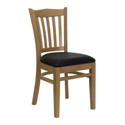 Flash Furniture - Flash Furniture Hercules Series Vertical Slat Back Chair in Black - Flash Furniture - Dining Chairs - XUDGW0008VRTNATBLKVGG - Provide your customers with the ultimate dining experience by offering great food service and attractive furnishings. Wood Chairs can make a lasting impression when setting up seating from intimate to casual. The commercially constructed chair makes it ideal in Restaurants Hotels and Lounges. To make your guests even more comfortable the seat is padded in a durable easy to clean vinyl upholstery. The solid beech hardwood construction makes this product very durable to provide years of use. with all of its attractive features this chair will provide the perfect complement to any commercial or residential setting. [XU-DGW0008VRT-NAT-BLKV-GG]