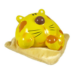 Zeckos - Adorable Yellow / Tan Stripe Cat on Pillow Piggy Bank - This adorable cold cast resin yellow and tan striped kitty cat money bank, laying on a soft, fuzzy tan pillow, really brightens up a room. The kitty measures 2 3/4 inches tall, 4 inches wide and 4 inches deep. The bank empties via a pull-off plastic piece on the bottom. He is hand-painted, and makes a great gift for cat lovers.