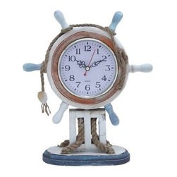 "Benzara - Wood Clock in Nautical Theme with Sailor Wheel Frame - Wood Clock in Nautical Theme with Sailor Wheel Frame. Contemporary designed and easy to maintain, this fascinating wooden clock livens up your home decor and enhances its ambience with a positive vibe. It comes with the following dimensions: 9"" W x 4"" D x 11"" H."