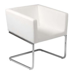 "Eurostyle - Eurostyle Ari Leatherette Lounge Chair in White w/ Chromed Steel Base - Leatherette Lounge Chair in White w/ Chromed Steel Base belongs to Ari Collection by Eurostyle Upholstered in soft leatherette over foam. Chromed steel base. Fully assembled. Seat height: 18"". Lounge Chair (1)"
