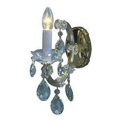 """Inviting Home - Maria Theresa Crystal Sconces (Premium Crystal) - Maria Theresa style crystal sconce with cut crystal trimmings; 4""""W x 11""""D x 10""""H; assembly required; 1 light premium Maria Theresa style crystal sconce with hand-molded arms and cut crystal trimmings; all metal parts have gold finish; genuine Czech crystal; ready to ship in 2 to 3 weeks; This wall sconce is a part of Maria Theresa Collection. At their start the chandeliers bearing the name of Maria Theresa were made on the occasion of the Empress's coronation as queen of Bohemia in 1743. This fact is hidden in the shape of these lighting fixtures reminiscent of the royal crown. Their characteristic feature is the arms' typical flat surface clad with glass bars. The bars are fixed to the arms by glass rosettes and beads with dangling cut crystal chandelier trimmings. These ravishing fixtures were inspired by a chandelier made for Maria Theresa in Bohemia in the mid 18th century. However not only the empress became fond of it; so did many others who fancied the style and the majestic manners after her. Typical elements are metal arms overlaid with glass bars and decorated with crystal rosettes. Originally the trimming was made of typical flat drops called """"pendles"""". Today trimmings of various shapes are used. Premium crystal. A sumptuous type of chandelier trimmings. Fire of the rainbow spectrum brilliance limpidity glitter and perfect scattering and dispersion of light - these are their main features resulting from precise cutting using electronically controlled machines but also from high quality crystal containing more then 30% of lead. Traditional mastery and the revealed mystery of the glass substance blend together with modern technologies and first-rate design in each of these unique pieces. Chandeliers dressed with these trimmings of exceptional beauty will lend an air of grandeur to the ambiance even of the most prestigious interiors. Every component passes thorough strict internal Quality Cont"""