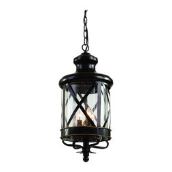 """Trans Globe Lighting - Trans Globe Lighting 5126 ROB New England Coast 25 3/4"""" Outdoor Pendant - Coastal New England horse and carriage hanging lantern. Cross bar frame with rounded seeded glass. Wrought iron accents and matching chain."""