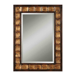 Uttermost - Justus Decorative Gold Mirror - The look of mahogany and gold leaf will bring a rich touch of style to any room in your house. This mirror could be hung vertically in a bathroom or horizontally over your mantel. Either way, it's sure to make bold impact.