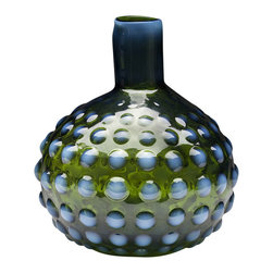 Dynasty Gallery - Glass Morocco Vase - Handmade - Textures… patterns… colors… all come together in this exotic collection. Infused with shades of blue and green, these mouthblown vases bring bohemian allure to any setting.