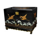 Oriental Furniture - Trunk with Cranes Design - This beautiful black lacquer chest features traditional designs with contemporary flair. The lid and front are hand painted with cranes flying just above the crashing waves, and finished in an even matte lacquer. The brass hardware is clear lacquered to resist tarnish, and the interior is lacquered with a matching black finish.