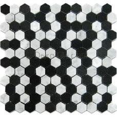 1 Hexagon Polished White Carrara and Basalt Mosaic Tile - DEKO Tile