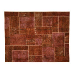 1800-Get-A-Rug - Plum Cast Overdyed Patch Work Sh1085 - About Modern & Contemporary