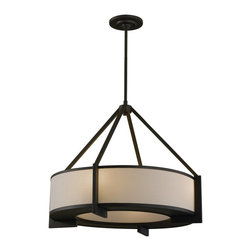 Murray Feiss - Murray Feiss Stelle Drum Shade Pendant Light in Oil Rubbed Bronze - Shown in picture: Stelle Pendant in Oil Rubbed Bronze finish with Cream Linen Shade