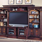 Parker House - 6 Pc Library Wall/Entertainment Center w Ches - A new TV can easily coordinate with traditional decor. The Huntington entertainment center brings it all together with carved details and fluted columns that provide a stunning surround. The center console and bridge provide unique slide-out sides that expand to 72 inches. Set includes TV Console, Expandable Bridge, Shelf & Back Panel, (2) 32 in. Open Top Bookcase, and (2) Outside Corner. Traditional English Library. Solid Poplar and Maple veneers. Leaded glass door inserts with beveled diamond pattern. Multi-step Chestnut with accent shading and highlights, hand distressing, medium sheen top coat. Expandable Console (for use with #400 series Library Wall) opens from 48 in. to 72 in., the console is 27 in. High (most PH Consoles are 24 in. High). Front levelors that adjust from inside the base Cabinet allow for a easy and true instillation. Touch-up pen included. TV Console: 48-72 in. W x 20 1/2 in. D x 27 1/4 in. H. Expandable Bridge: 81 in. W x 20 1/2 in. D x 5 in. H. 32 in. Open Top Bookcase: 32 1/4 in. W x 17 3/4 in. D x 80 1/4 in. H. Outside Corner: 17 3/4 in. W x 17 3/4 in. D x 80 1/4 in. H
