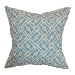 """The Pillow Collection - Majkin Geometric Pillow Turquoise 18"""" x 18"""" - This throw pillow comes with an iconic graphic pattern, which gives your interiors an effortless stylish look. This decor pillow features a relaxing turquoise and white color palette. This square pillow is made from 100% soft cotton fabric. Bring a modern touch to your furniture by propping this 18"""" pillow. Hidden zipper closure for easy cover removal.  Knife edge finish on all four sides.  Reversible pillow with the same fabric on the back side.  Spot cleaning suggested."""