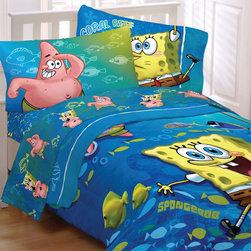Store51 LLC - Spongebob Squarepants Fish Swirl 4pc Twin Bedding Set - FEATURES: