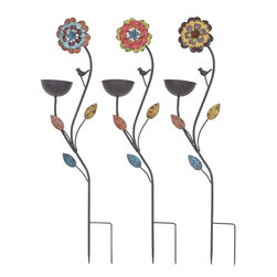 Benzara - Bird Feed Stake Assorted in Sunflower Design- Set of 3 - You can decorate every square inch of your home like you have always dreamt of with this Metal Bird Feed Stake Assorted in Sunflower Design(Set of 3). This perfect Metal Bird Feed Stake 3 Assorted can help you add the homely feel to your already planned outdoors. Let the birds in your neighborhood find a new resting place within your own property. This metal bird feed is designed to complement outdoors with colorful details and strong features. The bird feed vessel is shaped between the leaf branches to repel a natural vibe and to mix with the whole structure. It features a high quality metal frame that is designed with a big sunflower on the top and leaves in the mid section. This metal bird feed will impress your guests with your care and love for birds.