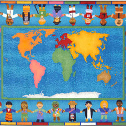Joy Carpets - Hands Around the World� Rectangular: 5 Ft. 4 In. x 7 Ft. 8 In. Kid Essentials - - - This irresistable classroom carpet with soft blended colors will spark lively discussions about world unity. Children will enjoy identifying each child?s home continent represented by the colored bars in the carpet border. Students can discuss the clues portrayed by dress to determine the nationality of the child and the culture of the country.  - Backing - SoftFlex?  -Joy Tuff Rug� Lifetime Limited Warranty (See packaging for details)  - Certifications - CRI Green Label Plus�   - 100% STAINMASTER� Nylon.   - STAINMASTER� Technology: High-Twist, heat set, premium nylon maximizes appearance retention, resiliency, and the ability to withstand traffic.   - SoftFlex? Backing.   - All carpets are 100% recyclable.   - Made With the LOTUSFX FIBER SHIELD? which enables the carpets to stay 30% cleaner and last 50% longer, shed liquids and soil particles, and resist food and beverage stains.   - Lifetime antimocrobial protection gaurds against mold, mildew, and odor causing substances.   - Lifetime Static Protection that is built in and permanent.   - SoftFlex? soft woven Backing system eliminates wrinkling and curling.   - Class I Flammability Rating: Passes NFPA253 and ASTM E-648 tests.   - Serging: Bound and double-stitched for maximum durability.   - Resists color fading and discoloration.   - Made in the USA.   - Joy Carpets area rugs and carpets with STAINMASTER� have been awarded the CRI Green Label Plus� Certification ensuring all products exceed the most stringent Indoor Air Quality Standards and are best suited for living, working, and learning environments. Joy Carpets - 1488C