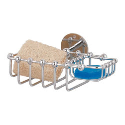 "Renovators Supply - Soap Dishes Chrome Soap/Sponge Basket Soap Dish - Soap/Sponge holder with 2 compartments is 7 1/4"" w x 5 1/2"" projection.  Soap basket 3"" wide x 2"" long and swivels.  Sponge section is 4 1/4"" wide x 3 1/4"" long.  Backplate is 2 1/8"" diameter.  Chrome finish."