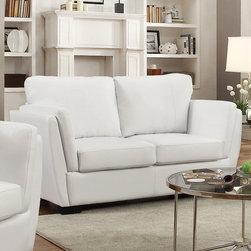 Coaster - Lois Loveseat, White - Perfect for small spaces and contemporary homes, our Lois collection offers a slanted double arm sofa that's not only stylish, but provides great lumbar support with its slanted back. With a comfortable higher arm rest, fiber filled back cushions and a wood frame, this collection is sure to bring comfort and style to your living room. Pair this contemporary sofa collection with a round glass top occasional set (#702335).