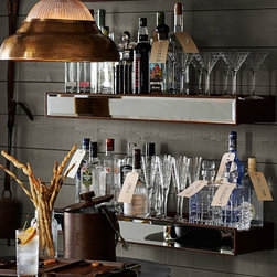 Rustic Wood Mirror Shelf - This rustic mirrored shelf from Pottery Barn turns any small spot into an entertaining hub. It's great for bottles, glasses and barware. But even cooler, the shelf is customizable!