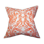 "The Pillow Collection - Saskia Damask Pillow Orange 18"" x 18"" - This square pillow features a classic damask pattern in a burst of bright orange hue. This accent pillow will instantly lighten up your space with its pop of color and texture. Pair this up with other damask pillows from our selection of unique throw pillows. Constructed with 100% durable cotton material, this decor pillow ensures long lasting quality. Hidden zipper closure for easy cover removal.  Knife edge finish on all four sides.  Reversible pillow with the same fabric on the back side.  Spot cleaning suggested."