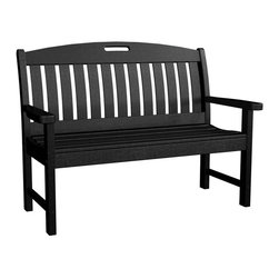 Polywood - Eco-friendly Bench in Black - On land or on sea, The Nautical Collection offers many different chair styles along with tables in both traditional and taller heights. you'll find the perfect match for your decor. Sail away with someone special on this cozy bench that's just the right size for two.