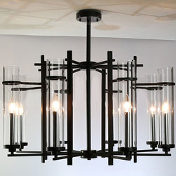 Modern Clear Glass Shades and Black Metal Chandelier - http://www.phxlightingshop.com/index.php?main_page=advanced_search_result&search_in_description=1&keyword=9171