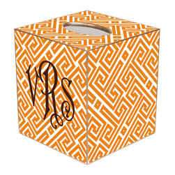 Marye Kelley - Chelsea Fret Orange & White Personalized Tissue Box Cover - The Chelsea tissue box cover's custom design exudes modern glam. Featuring a personalized monogram, this gold-trimmed accessory features orange and white hues in a geometric fretwork print. Available in papier mache, tin and wood; Choose font style; Enter initial, name or monogram exactly as it should appear; Made in the USA