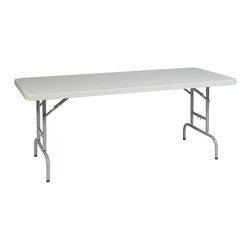 Office Star - Work Smart Resin 6 ft. Height Adjustable Resin Multi Purpose Table - 6' height adjustable resin multi purpose table. Durable construction. Height adjustable. Light weight sleek design. Powder coated tubular steel frame. Ideal for indoor and outdoor use. Easy storage.