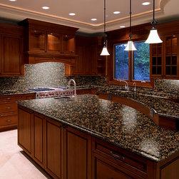 kichens baltic brown - Baltic Brown granite countertop with full granite backsplash and tile foor