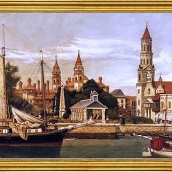 """William Aiken Walker-16""""x20"""" Framed Canvas - 16"""" x 20"""" William Aiken Walker View of St. Augustine Harbor framed premium canvas print reproduced to meet museum quality standards. Our museum quality canvas prints are produced using high-precision print technology for a more accurate reproduction printed on high quality canvas with fade-resistant, archival inks. Our progressive business model allows us to offer works of art to you at the best wholesale pricing, significantly less than art gallery prices, affordable to all. This artwork is hand stretched onto wooden stretcher bars, then mounted into our 3"""" wide gold finish frame with black panel by one of our expert framers. Our framed canvas print comes with hardware, ready to hang on your wall.  We present a comprehensive collection of exceptional canvas art reproductions by William Aiken Walker."""