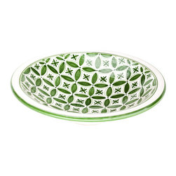 Sobremesa by Greenheart - Sobremesa by Greenheart Green Fez Large Server Bowl - Sobremesa Green Fez Large Server Bowl. Impress everyone with your cooking and your style using Sobremesa's Green Fez Large Server Bowl. Skilled artisans paint the green design by hand, creating a graphic floral pattern on the inside of the bowl for plenty of international-inspired appeal. The wide and shallow shape makes it easy to serve whatever's inside, while the lively hue is great for adding a splash of color to your table.Handpainted with lead- and cadmium-free glazesProduced by artisans who are paid fair wages and work in safe conditionsMade in Tunisia
