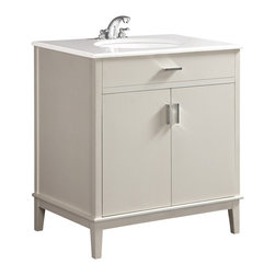 """Simpli Home - Urban Loft White 30"""" Bath Vanity with White Quartz Marble Top - The Simpli Home 30 inch Urban Loft Vanity Collection is defined by its white finish,  multi finish chrome pulls & hardware and clean lines and contemporary look.    This beautiful assembled vanity provides large storage area with internal shelf behind its 2 doors."""