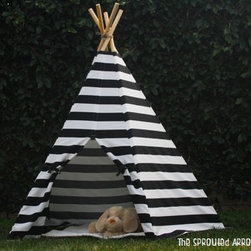 Stripe Play Tepee Tent by The Sprouted Arrow - Every camp-themed space needs a tent. The horizontal black and white stripes give this one a modern look.