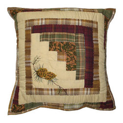 Patch Quilts - Forest Log Cabin Toss Pillow 16 x 16 Inch - Decorative applique Quilted Pillow Bed and Home Ensembles and Bedding items from Patch Magic   - Machine washable  - Line or Flat dry only Patch Quilts - TPFOLC