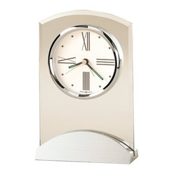 Howard Miller - Howard Miller Tribeca Alarm Clock - Howard Miller - Alarm Clocks - 645397 - This modern contemporary alarm clock has a smooth yet emphatic stylishness to it and will be an attractive addition for the bedside. Distinguished by its slight-arch frame, brushed and polished matching arch base and white dial with polished silver bezel, the Tribeca has a smart, updated vibe to it. A protective felt bottom and quartz alarm movement complete the appeal of the Tribeca Alarm Clock.