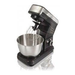 Hamilton Beach - 6 Speed Stand Mixer Black - This Hamilton Beach 63326 Black 6-Speed Stand Mixer has a powerful 300 Watt motor. Its mixing action gives complete bowl coverage and provides better mixing that two-beater stand mixers. Three attachments--flat beater, whisk and dough hook-- are included and offer mixing versatility. The mixing head spins as it rotates completely inside the bowl and the tilt-up head lifts out of the way for easy bowl access. It also has a special fold setting, Stainless Steel 3.5 Qt. bowl and non-slip feet.
