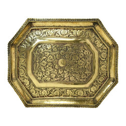 None visible - Consigned Large Brass Serving Tray with Floral Decoration - A very striking serving tray in beaten brass with engraved floral scrolls and a pierced border, antique Indian Victorian, 19th century.This is an antique One of a Kind item. Some wear and imperfections are to be expected, as described.