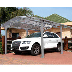 """Poly-Tex, Inc. - Arcadia Carport Patio Cover Kit - Arcadia Carport Patio Cover. Protect your vehicle or patio from harsh elements including sun, rain, snow and hail with this attractive structure. The Arcadia covers and area 11' 1"""" x 16' 6"""" and is versatile enough to also be used as a patio covering for your backyard or by the pool. The virtually unbreakable clear polycarbonate roof protects from elements. Easy to assemble with two people and requires no special tools."""