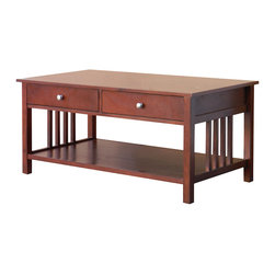 DonnieAnn - Hollydale Chestnut Mission Style Coffee Table - The Hollydale coffee table is perfectly sized with an undershelf to store your magazines, books, newspapers and more. This accent piece also comes with two drawers, and highlights rich chestnut finish.