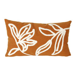 "Trans-Ocean Inc - Windsor Orange 12"" x 20"" Indoor Outdoor Pillow - The highly detailed painterly effect is achieved by Liora Mannes patented Lamontage process which combines hand crafted art with cutting edge technology. These pillows are made with 100% polyester microfiber for an extra soft hand, and a 100% Polyester Insert. Liora Manne's pillows are suitable for Indoors or Outdoors, are antimicrobial, have a removable cover with a zipper closure for easy-care, and are handwashable.; Material: 100% Polyester; Primary Color: Orange;  Secondary color: white; Pattern: Windsor; Dimensions: 20 inches length x 12 inches width; Construction: Hand Made; Care Instructions: Hand wash with mild detergent. Air dry flat. Do not use a hard bristle brush."