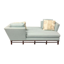 "Michael Berman Paramount Daybed & Pillows - From Los Angeles designer Michael Berman comes this object of tranquility: a stunning custom blue daybed and coordinating throw pillows.  This elegant piece is brought to us from a Los Angeles Estate. We just love this piece for its purposeful lounging capabilities.  A great place to read and relax in your own home. The seller says: ""Owning this daybed will make you feel smart as your friends drool over it.  Which reminds us, there are a few small drools on it, perhaps from one of the four children who may have sat here.  Professional Spot cleaning should take care of it. 4 pillows pictured are included."""