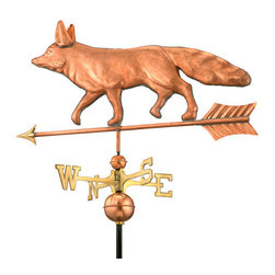 Good Directions, Inc. - Good Directions Fox Weathervane - Polished Copper - Ears and tail raised at attention, this sly fox is ready to sniff out his surroundings from the rooftop of your house, barn, or cupola. Our Good Directions artisans use Old World techniques to handcraft this fully functional, standard-size weathervane that's unsurpassed in style, quality and durability. A great gift for wildlife enthusiasts!